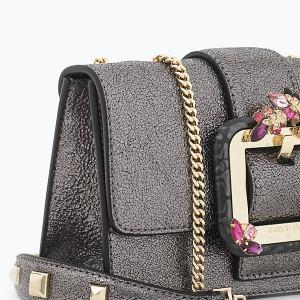 patrizia pepe-sac bandoulière-cuir metallisé
